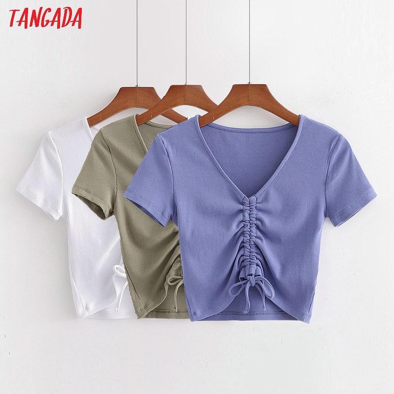 Tangada Women Pleated Crop T Shirt Summer Short Sleeve V Neck Tees Ladies Sexy Tee Shirt Street Wear Top 1D199