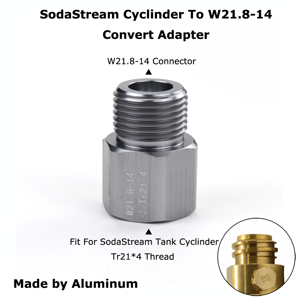 New SodaStream Cylinder To W21.8-14 Convert Adapter For Aquarists Aquarium Fish Or Homebrew Beer Keg Co2 Tank Regulators