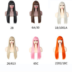 Hair Wigs Cosplay Orange Pink Women Straight Long Aigemei for Black Party Silky High-Temperature-Fiber