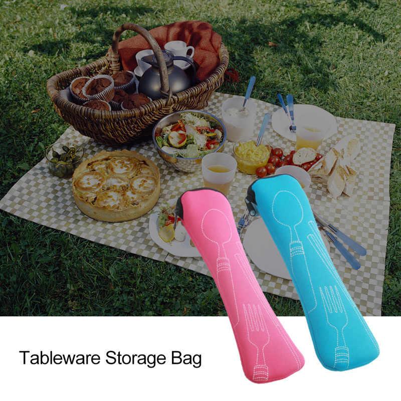 Akcesoria podróżne 1PC podróży przenośne widelec podróży ze stali nierdzewnej sztućce przenośny torba na piknik pojemnik dla dzieci dla dorosłych 2019 nowy