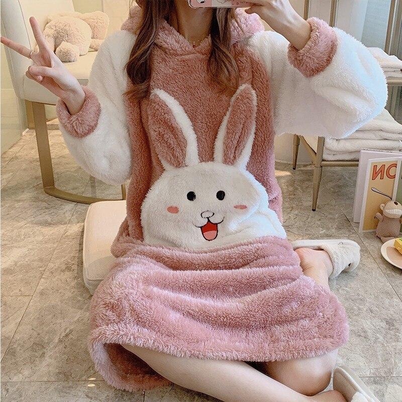 Girl Cute Cartoon Thick Warm Flannel Hooded Nightgown For Women Winter Long Sleeve Coral Velvet Night Dress Sleepwear Nightdress