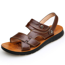 Top Quality Sandal Men Sandals Summer Leather Outdoor Shoes Plus Size 38-44