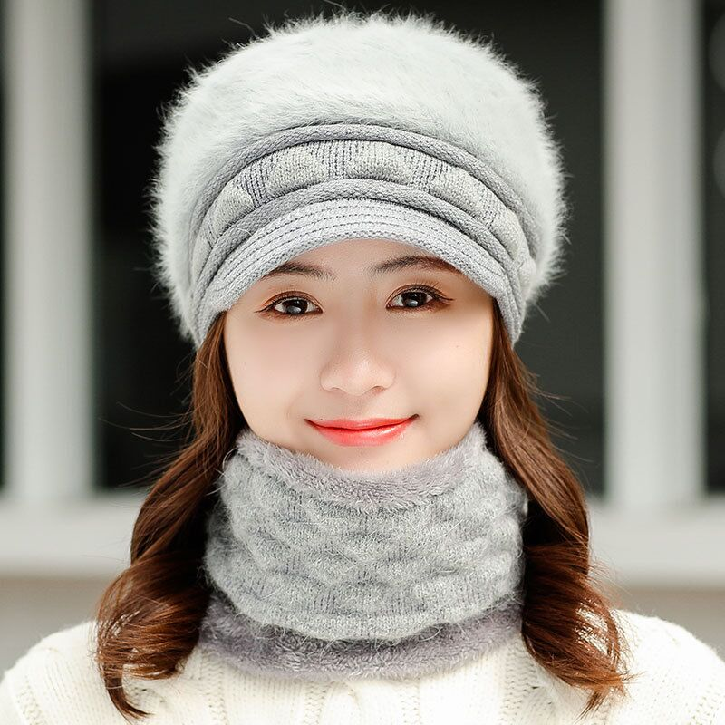 RUHAO 2019 New Women Knitted Hats Set Scarf Autumn Winter Rabbit Fur Hats For Women Ladies Beanie Warm  Hats