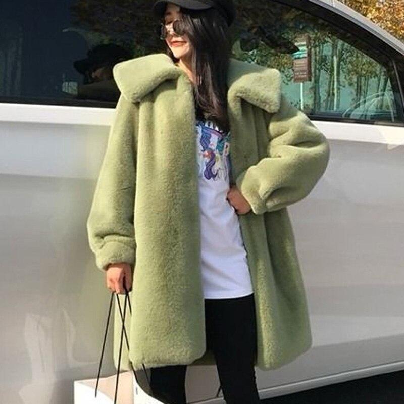 2019 Autumn Winter Fur Coat Thick Warm Long Faux Fur Coat Large Size Faux Rabbit Fur Overcoat