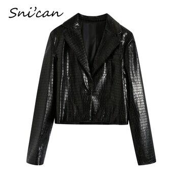 Snican-chaqueta de piel sintética con serpentina negra para mujer, Top corto de...