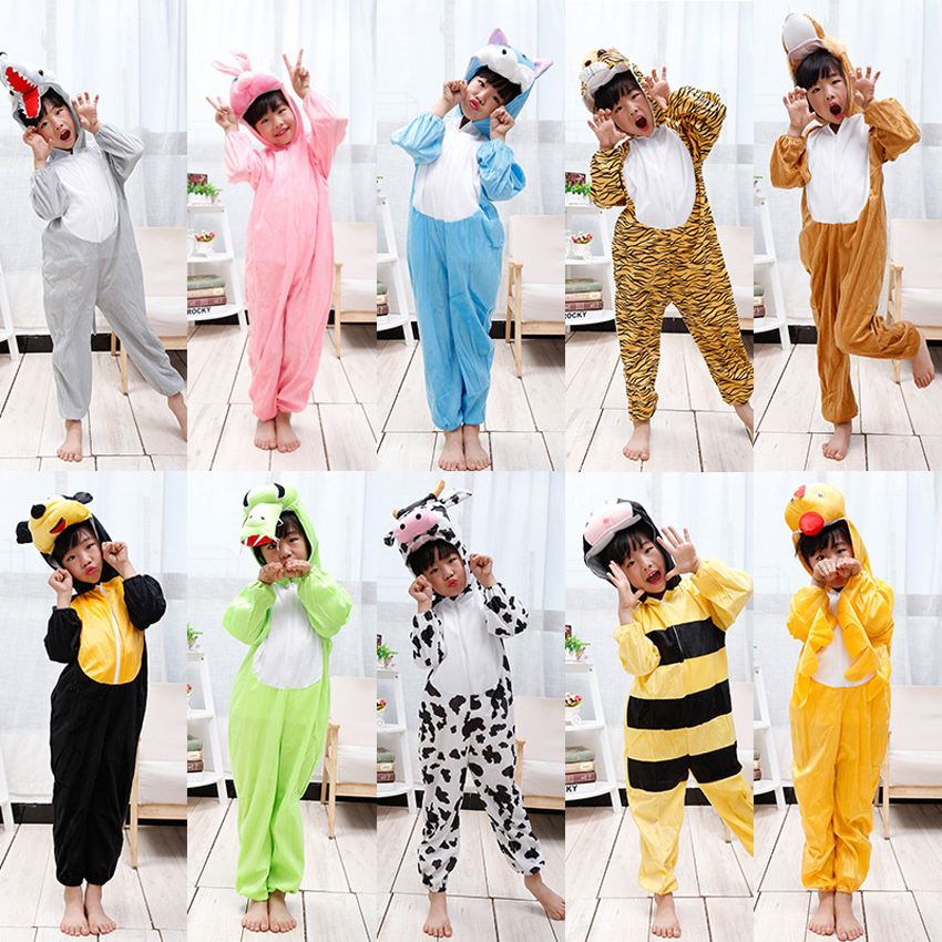 Children's Day School Performance Clothing Kids Animal Monster Panda Flannel Cosplay Costumes Jumpsuit Hooded Kigurumi Pajamas