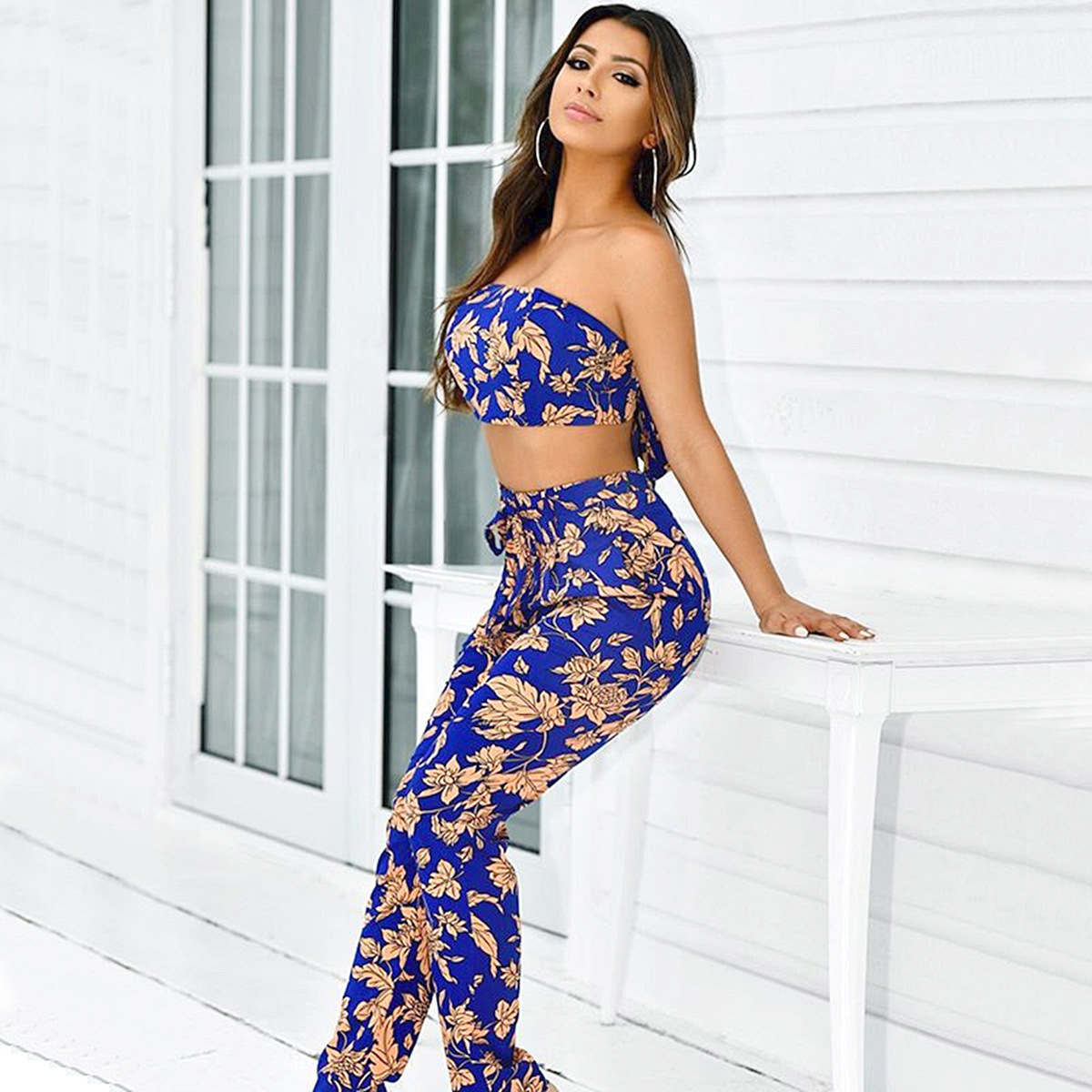 Hot Selling Summer New Style Royal Blue Peach Blossom High-waisted Beam Lace-up Two-Piece Set