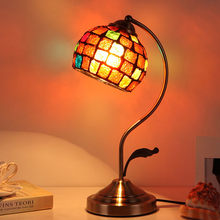 Mosaic stained glass lamp Bedroom Living room Bed side tiffanylamp Tiffany lamp shades vintage table lamp fixtures(China)