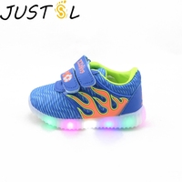 JUSTSL Children's Spring Autumn LED light shoes girls boy casual shoes shoes sports shoes fashion glowing sneakers for kids