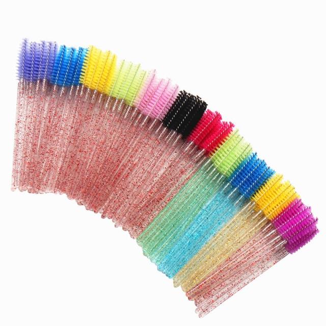 1/50pcs Shiny Disposable Eyelash Applicator Wands Curler Brush Set Mascara Eyebrow Spoolers - Comb Wands Spoolies Brushes