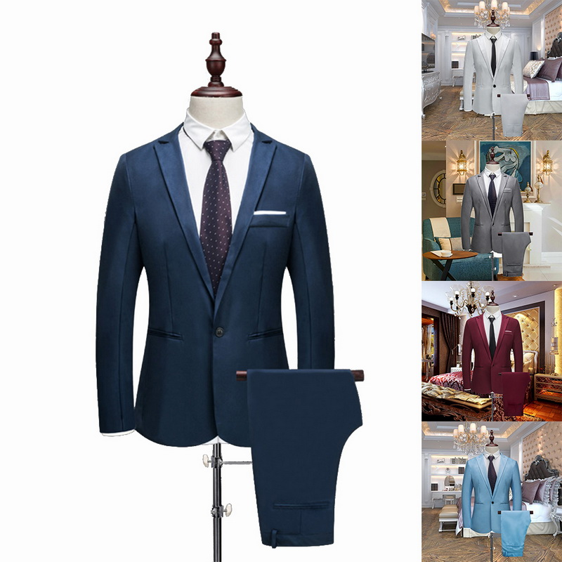 Puimentiua Tuxedo Suits Jacket--Pants Slim-Fit Wedding Business Formal Green Work-Wear