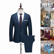 Puimentiua 2019 New Male Wedding Prom Suit Green Slim Fit Tuxedo Men Formal Business Work Wear Suits 2Pcs Set (Jacket+Pants)(China)