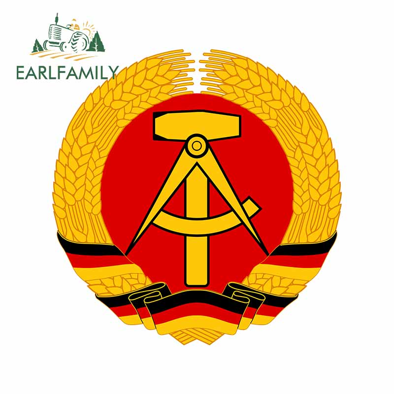 EARLFAMILY 13cm x 12.7cm for German <font><b>Democratic</b></font> Republic Motorcycle Car Bumper Window <font><b>Stickers</b></font> DIY Anime Vinyl Decal Decoration image