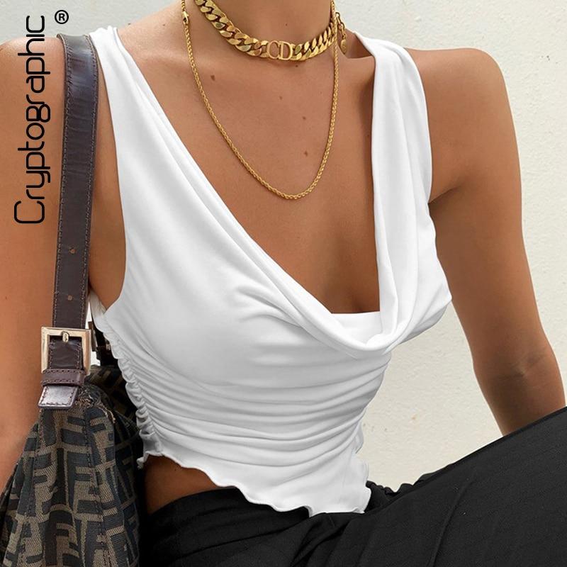 Kryptographische Sommer Rüschen Geraffte Sexy Tank Tops für Frauen Ärmellose Weiß Plunge Top Gestellte Club Party Mode Outfits