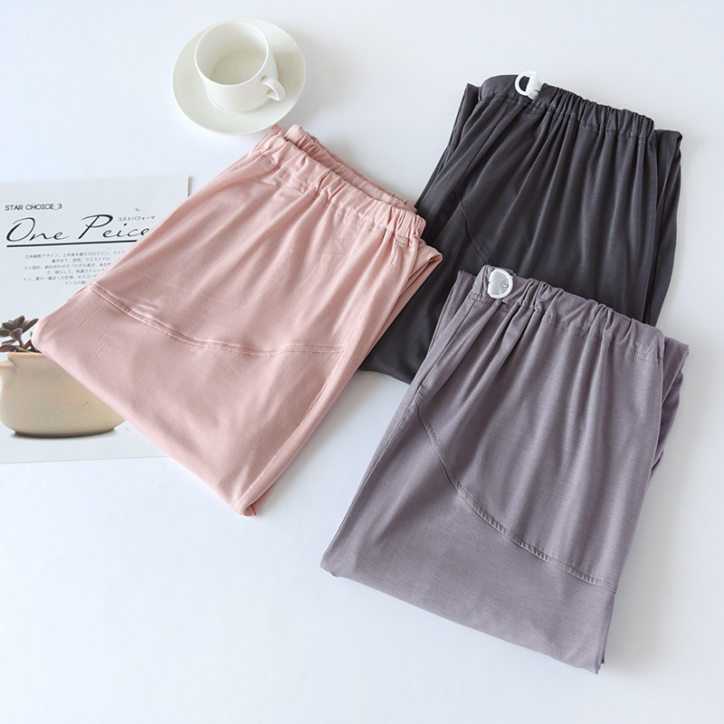 Fdfklak Adjustable Waist Maternity Pajama Pants Modal Trousers Spring Autumn Solid Color Maternity Postpartum Home Pants