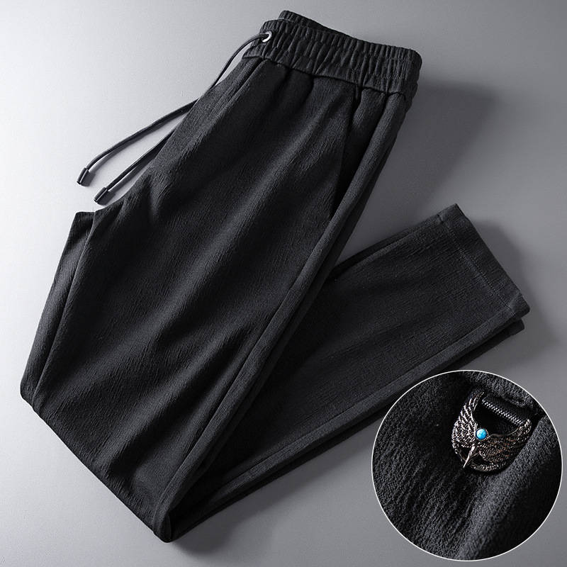 2019 Autumn And Winter Men'S Wear Loose Straight MEN'S Casual Pants Versatile Elastic Pants Tiny Wrinkly Spandex Youth MEN'S Tro