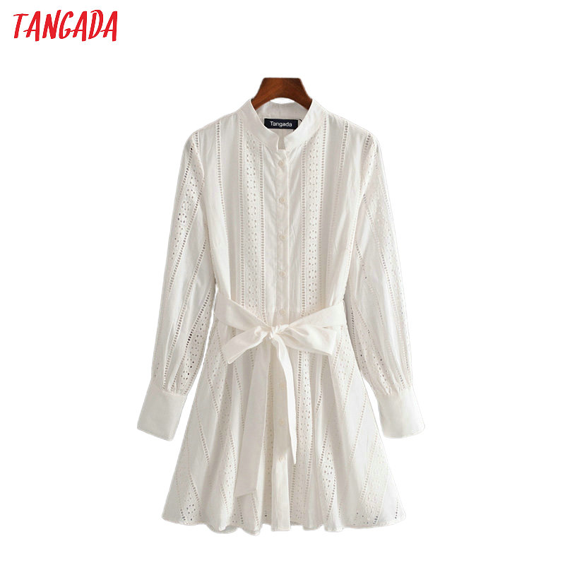 Tangada Women White Embroidery Shirt Dress With Slash Long Sleeve 2020 New Females Mini Dresses Vestidos 3H104