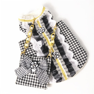 Image 2 - Cat Dog Clothes Bag Set Pet Dress Vest Luxury Pearl Decoration Classic Camellia Puppy Clothes for Dog Small Meduim Dog Chihuahua