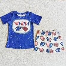 Atacado moda criança julho 4th verão define crianças azul manga curta gravata tintura camisa óculos shorts bebê menino boutique outfit