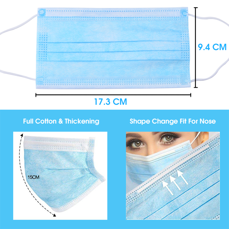 Image 3 - 10 PCS 3 Layer Disposable Medical Protective Face Mouth Masks  Anti Influenza Bacterial Virus  Dustproof  Safety Surgical Mask  -
