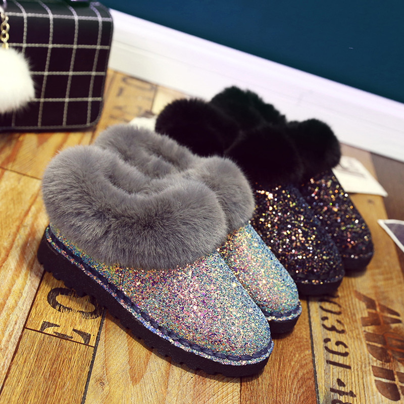 2019 New Winter Women Sequins Snow Boots Fashion Thicken Plush Shiny Cotton Shoes Thick Bottom Non-slip Warm Ankle Boots 36-41 14