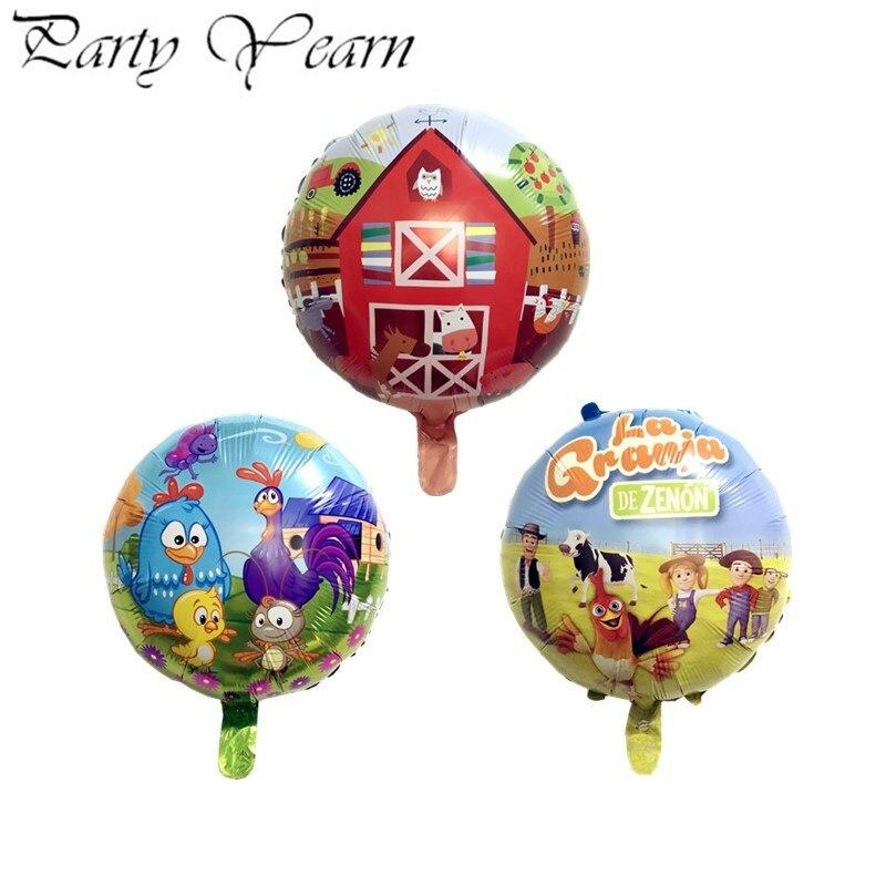 50pcs 18 pouces rond dessin animé en aluminium hélium feuille ballon ferme thème enfants fête de vacances disposition ballons décoratifs en gros