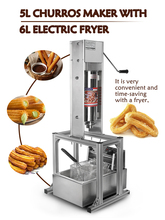 цена на GZZT 2PCS Machine 5L Churros Maker With 6L Electric Fryer Spanish Fritter Machine With 5 Nozzles Ji Shiguo Latin Fruit Machine