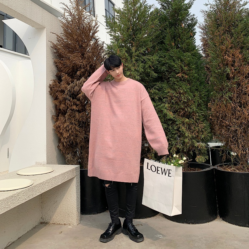 Men Fashion Hip Hop Chic Knitted Thick Pink Dress Sweater Autumn Winter Male Streetwear Loose Casual Pullovers Long Sweater
