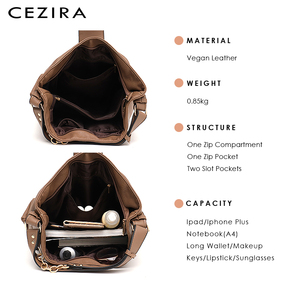 Image 3 - CEZIRA יוקרה נשים יומי נווד גבירותיי עור מפוצל גדול כתף תיק אופנה מתכת טבעות Tote נקבה מקרית Crossbody תיק שק