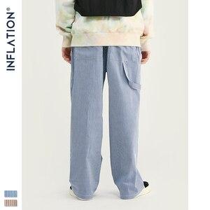 Image 4 - Inflatie 2020 Mannen Casual Broek Winter Streetwear Oude Mode Streep Broek Straight Elastische Taille Toevallige Streep Mannen Broek 93421W