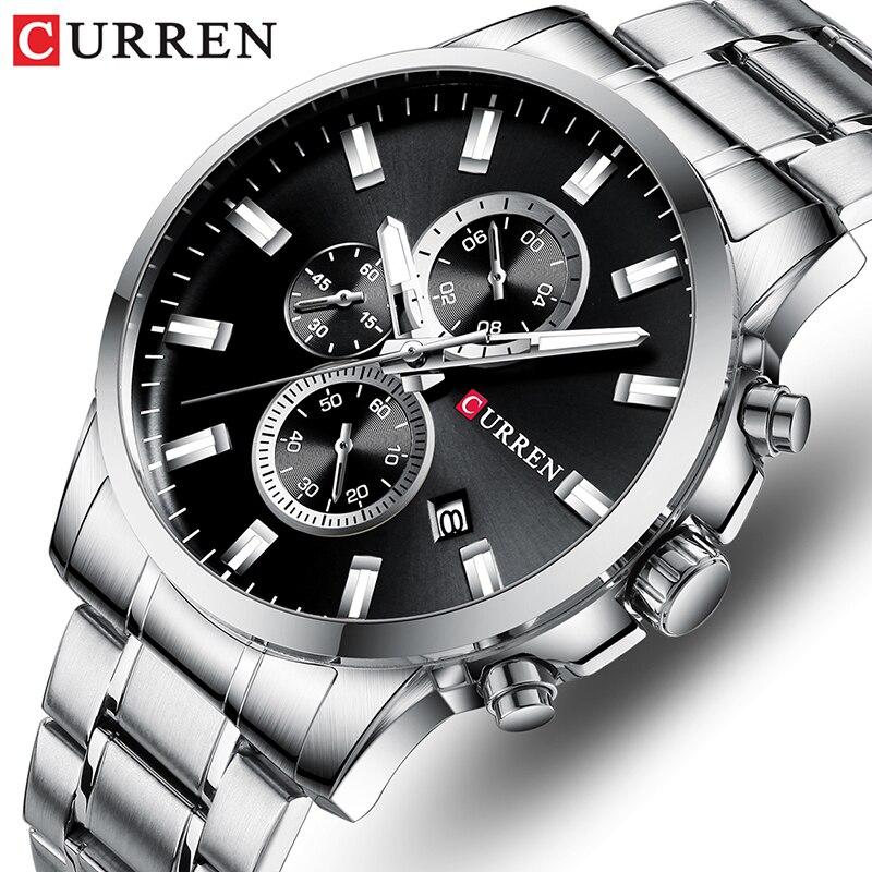 Top CURREN Watch Mens Brand Luxury Quartz Fashion Men Watches Waterproof Sports Wrist Watch Steel Chronograph Relogio Masculino
