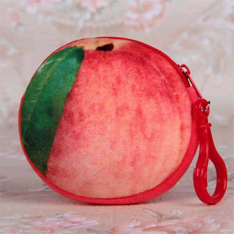 1 adet Mini 3D meyve bozuk para cüzdanı moda kadın para çanta Mini çanta anahtar çantası kadın fermuar küçük cüzdan kız çanta değiştirmek 7 çeşit