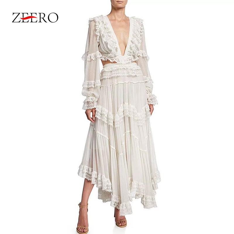 Runway Designer Women Bandage <font><b>Backless</b></font> White Asymmetrical <font><b>Dress</b></font> Female <font><b>Sexy</b></font> V-Neck Lace Ruffles Elegant Beach Party Long <font><b>Dresses</b></font> image