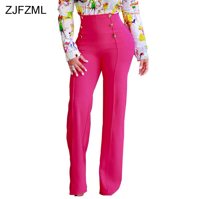 ZJFZML 2018 Gold Double Button Sexy   Wide     Leg     Pant   Women High Waist Full Length Trouser Casual Elegant Solid Back Zipper   Pants
