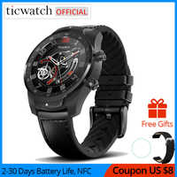 Original Ticwatch Pro Bluetooth reloj inteligente IP68 impermeable apoyo pagos NFC/Asistente de Google llevar OS por GPS de Google reloj