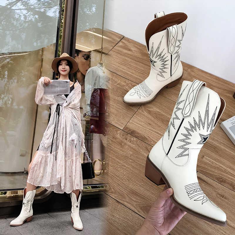 אופנה הבלטות נשים קרסול מגפי מחודדת הבוהן לרקום נשים מגפי Med עקבים רטרו נייט מגפיים נשי עור אמיתי Botas