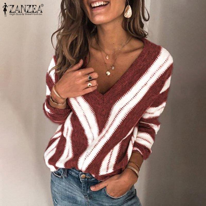 Autumn Fashion Knitted Pullover ZANZEA Winter Long Sleeve Striped Sweater Sexy V Neck Jumper Women Casual Knitwear Pull Femme