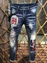 NIEUWE Mannen Jeans Geript voor Mannen Skinny Jeans Broek Mannen Jeans Rits Uitloper Man Broek