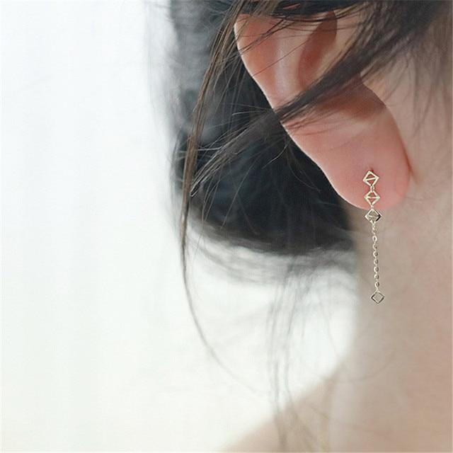 925 Sterling Silver European Simple Geometric Long Tassel Earrings For Women 14k Gold Plating Light