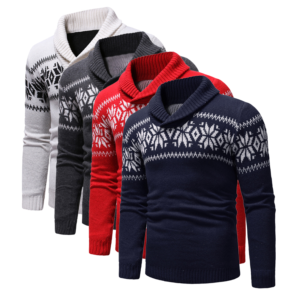 Mens Two Buttons Neck-line Pullover Christmas Sweater Autumn Winter Turndown Collar Casual Snowflake Printed Knitted Sweaters
