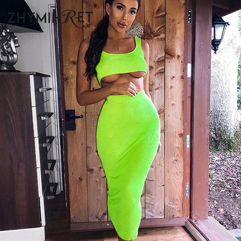 ZHYMIHRET 2021 Summer Neon Color Two Pieces Set Dress Women Sexy Ribbed Crop Top And High Waist Long Vestidos Two Piece Outfits