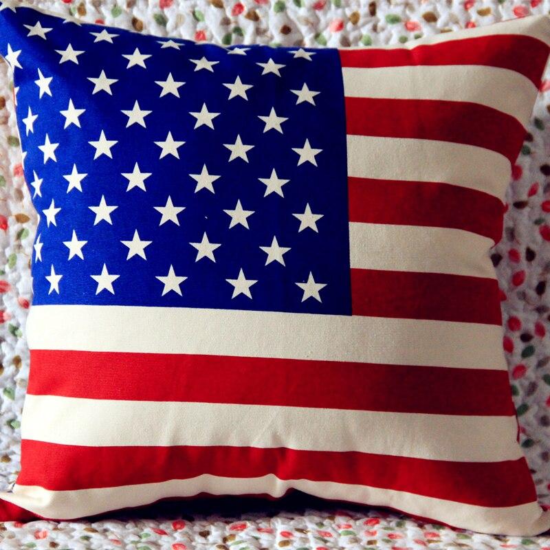 미국 국기 인쇄 코튼 쿠션 커버 영국 영국 국기 에펠 탑 장식 소파 쿠션 미국 국기 베개 웨딩