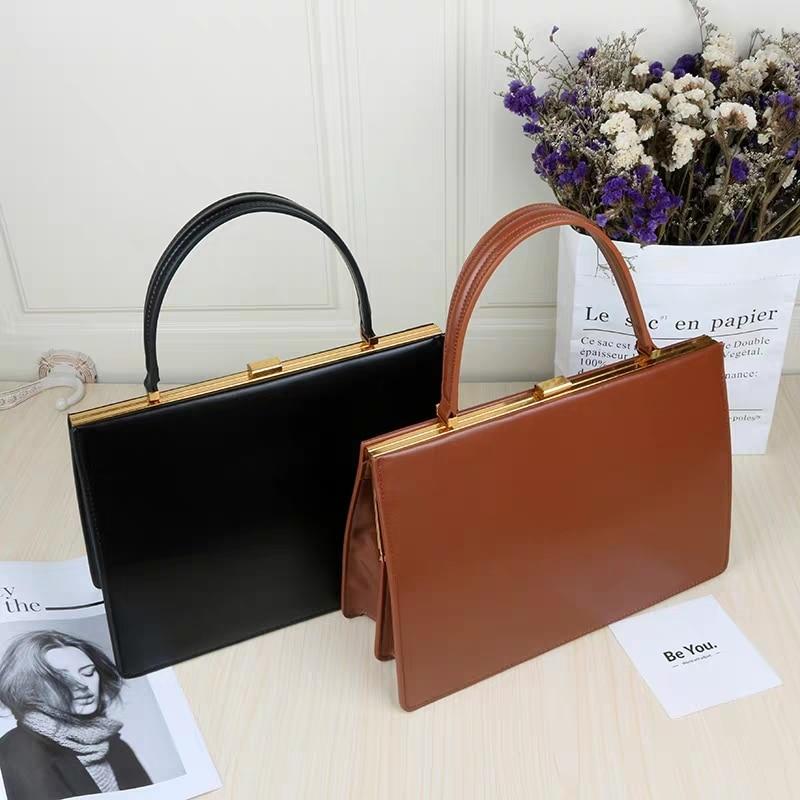 New Vintage Clasp Women Handbags Medium Metal Frame Design High Quality Female Tote Bags Autumn Brand Red Black Box Packing