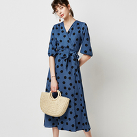 Retro Polka Dot Midi Party Dress With Lanter Sleeve AE80301 1