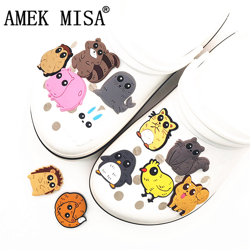 Single Sale 1Pcs Shoe Charms Accessories 12 Cute Animals Model Shoe Decoration For Wristband Croc Jibz Kid's Party X-mas Gifts
