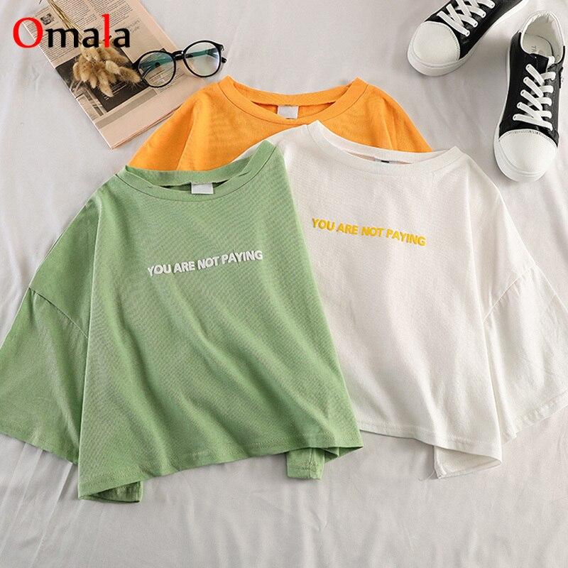 Harajuku 100% Cotton T-Shirts Summer Women Letter Print T Shirt Short Sleeve Ladies Basic Tees Korean Simple Casual Female Tops