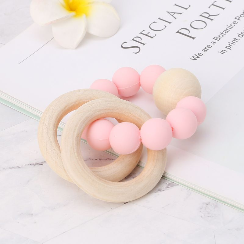 Baby Baby Teether Bracelet Teething Toys Chew Bite Newborn Teeth Care Beads Jewelry Pain Relief Silicone Wood Rings Infant