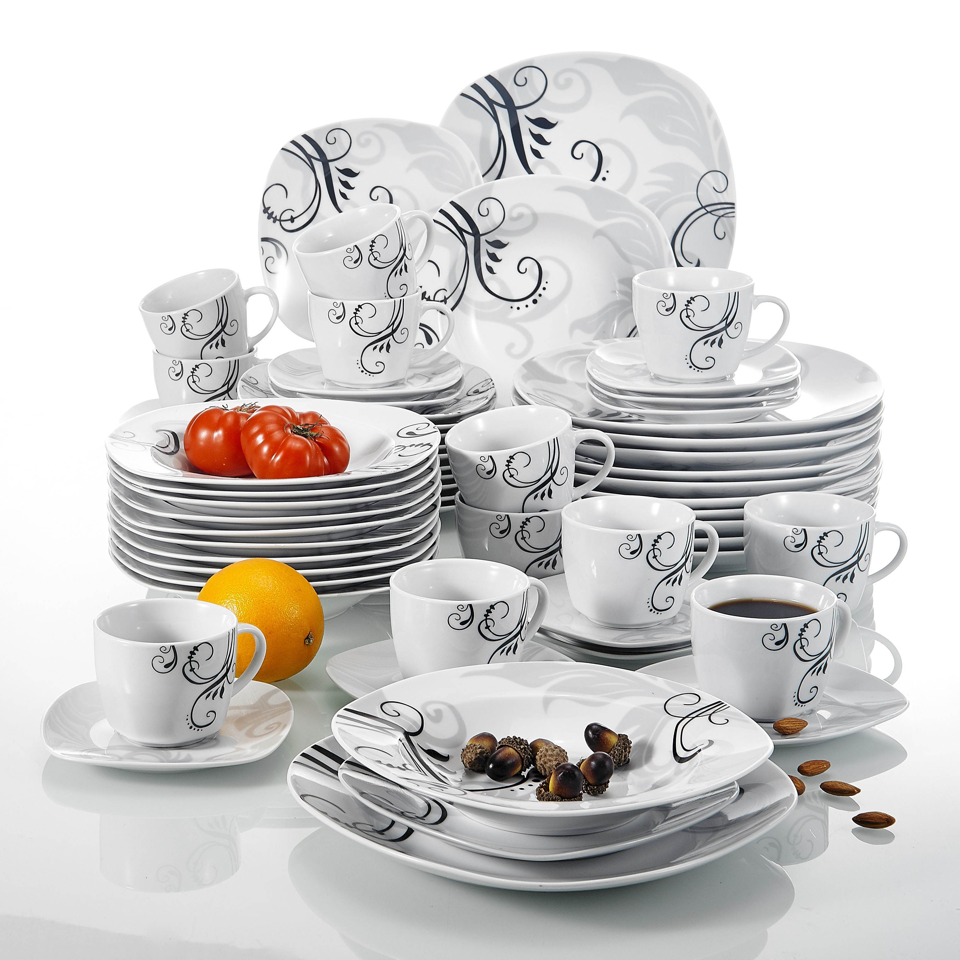 VEWEET ZOEY 60-Piece Black Decals Porcelain Ceramic Dinner Combi-Set With Dessert Plate Soup Plate Dinner Plate Cup Saucer