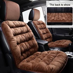Image 3 - Comfortable Car Seat Cushion With Backrest Thickened Plush Winter Seat Cushion Universal Car Accessories