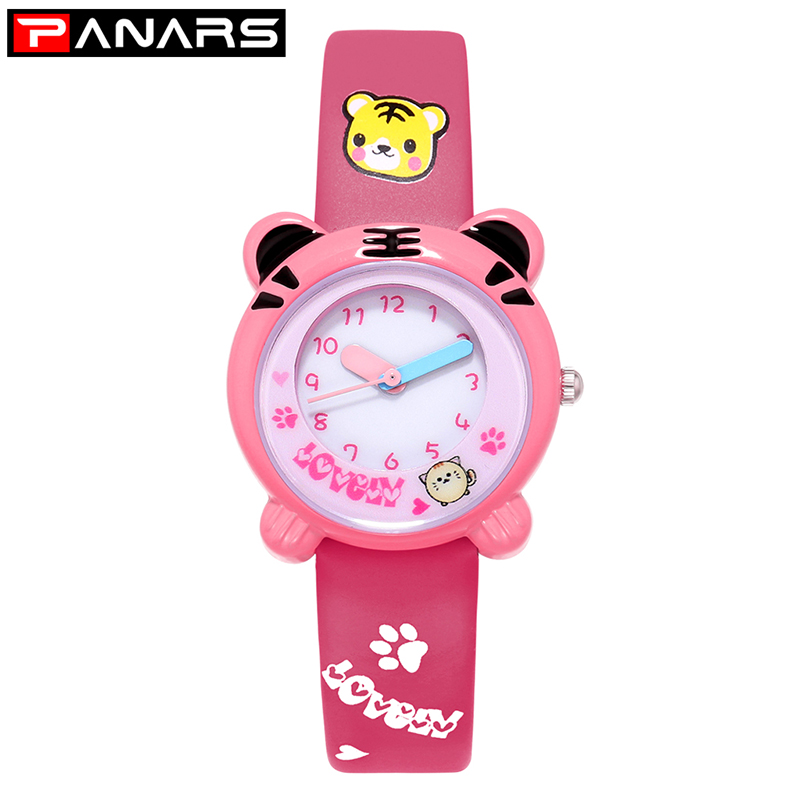 PANARS NEW Arrive Cute Tiger Cartoon Quartz Watch Kids Watches Printed Strap Shockproof Waterproof Boys Girls Gift Watches Clock